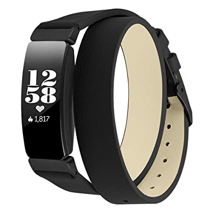 """Elobeth Compatible with Fitbit Inspire Bands & Inspire HR Band Leather Bracelet for Fitbit Fitness Tracker Bands Women 5.3""""-6.5"""" 134-165mm (Black)"""