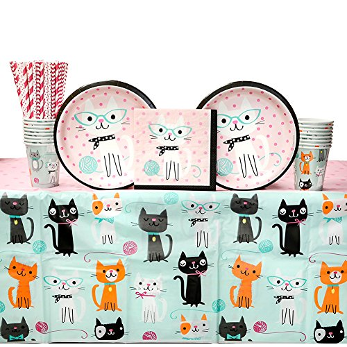 Purr-FECT Birthday Party Supplies Pack for 16 Guests: Straws, Dinner Plates, Luncheon Napkins, Table Cover, and Cups -