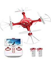 Syma X5UW WiFi FPV 720P HD Camera Quadcopter Drone with Flight Plan Route App Control & Altitude Hold Function with Extra Battery Red
