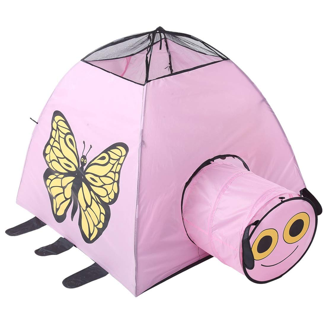 Nekovan キッズFoldable再生テントの蝶プリント子供たちのための屋内屋外のおもちゃの劇場男の子と女の子 (色 : ピンク) B07R7H9DHG ピンク
