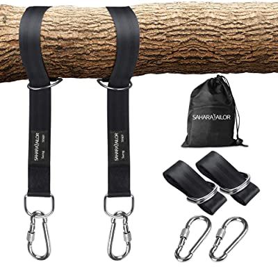 Sahara Sailor Tree Swing Hanging Straps (Set of 2), Two 5ft Straps, Holds 2200 lbs, Non-Stretch Swing Hanging Kit with Safety Lock Carabiners Carrying Bag Perfect for Tire, Disc Swings, Hammocks: Sports & Outdoors