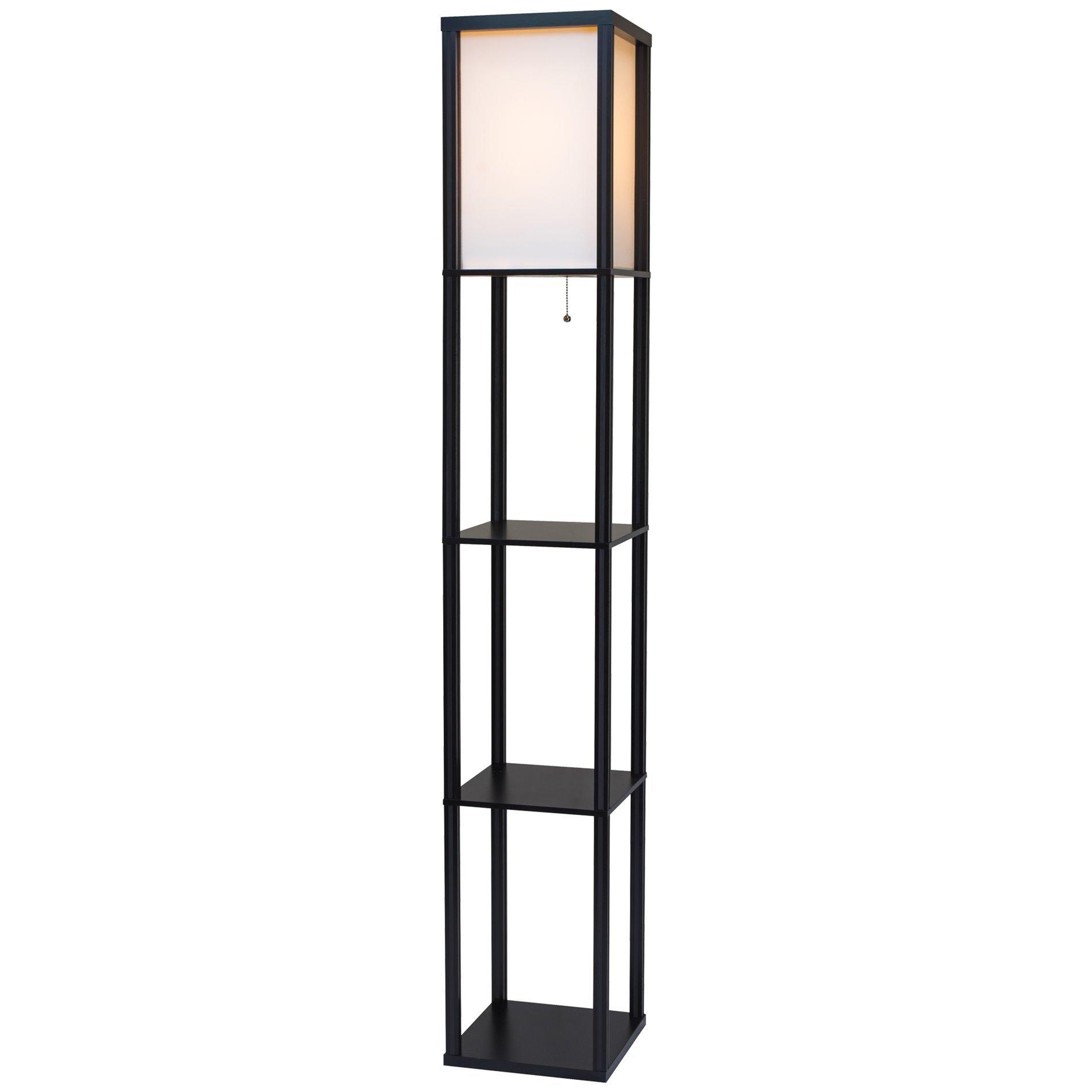 Revel Toro 62.5'' Wood Floor Lamp with Shelves & Off White Shade + 100W Energy Efficient Bulb by Kira Home