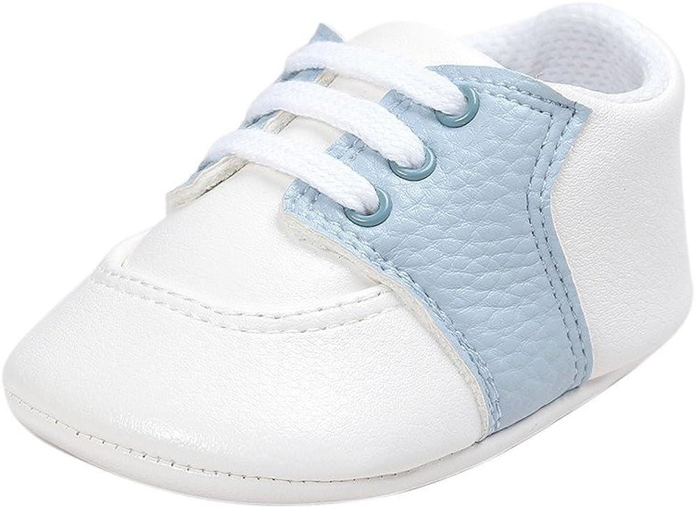 Estamico Zapatos Sneakers para bebés de Cuero sintético, Zapatillas bebé niño,Azul Claro 0-6 Meses