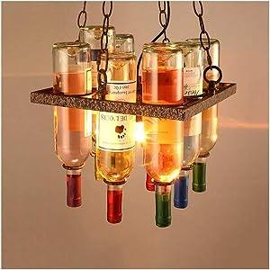 Chandelier Vintage Ceiling Light Industrial Retro Wine Bottle Living Room Decor Hotel Restaurant Bar Cafe Wrought Iron E27 [Energy Class A++] (Size : 31cm)