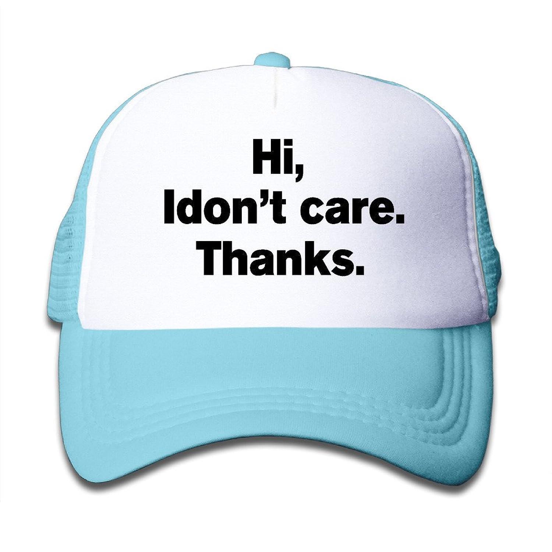 Kids Hi, I Don't Car, Thanks Adjustable Running Hats Caps Black get discount