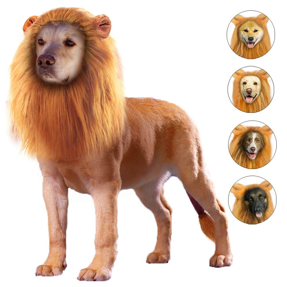 GALOPAR Lion Mane for Dogs Realistic Lion Wig Dog Lion Costume, Halloween Christmas Funny Dog Costumes Photo Shoots Entertainment, Suitable for Medium and Large Sized Dogs by GALOPAR