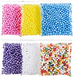 Funballs Big Foam Beads for Floam Slime, Styrofoam Balls with Fruit Splice and Googly Eyes for Kid's DIY Craft Supplies, Crunchy Slime and Home Decor, 0.2-0.3 Inch Beads, 6 Pack