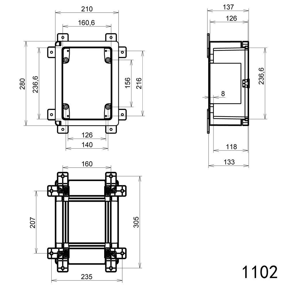 Schaltschrank IP65 Sichttür Industriegehäuse 210 x 280 x 130 mm ...