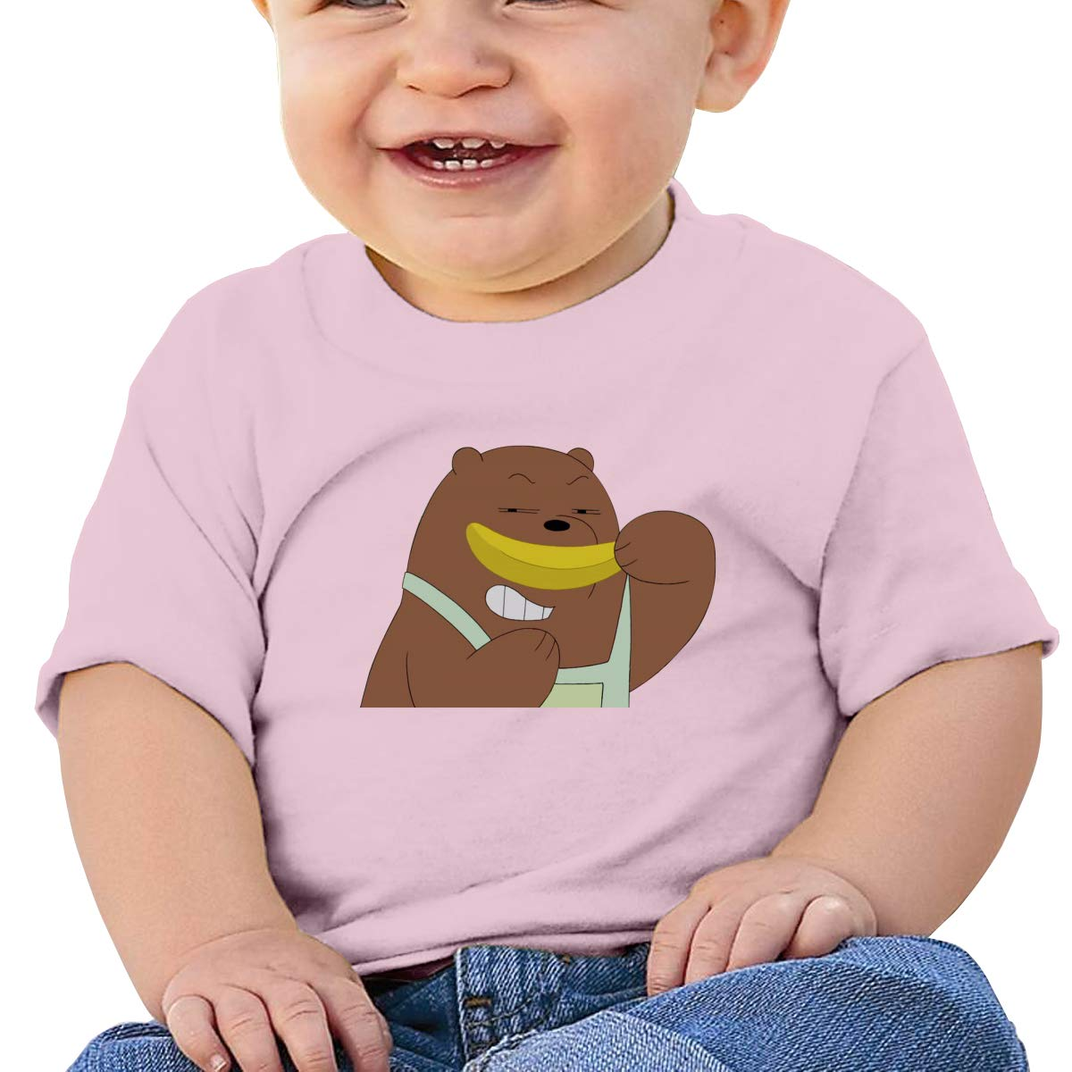 FeiZhiLin We Bare Bears Eat Banana Baby Tee Design Soft T-Shirts for Toddler Black