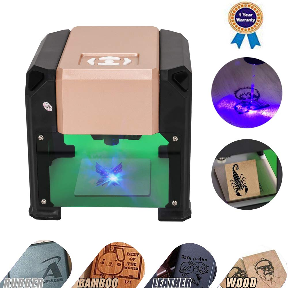 Laser Engraving Machine, Laser Engraver Printer 3000MW Mini Desktop Laser Engraver Machine DIY Logo Laser Engraver 7.5x7.5CM