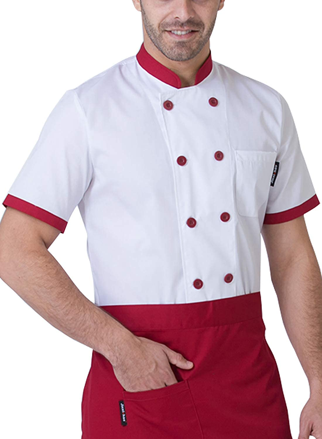 BOUPIUN Men's Summer Chef Jacket with Short Sleeve Cooking Waiter Uniform Hotel Kitchen Chef Working Coat 4 Colors S-3XL