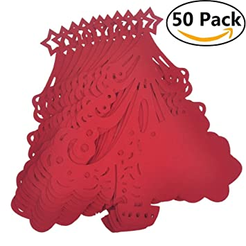 owikar 50 pcs christmas tree wine glass paper card laser cut xmas tree table number name