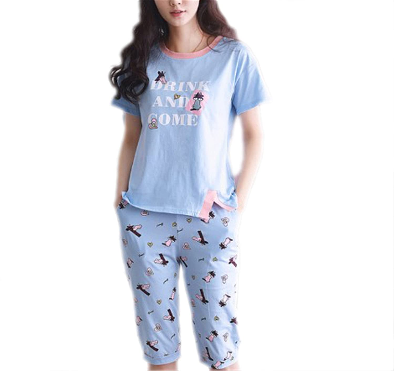Amazon.com: DIDIUI women pajamas set cotton sleepwear tracksuit home clothing: Clothing