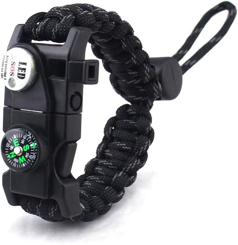 Mini-outil Paracord Survival Bracelet: Fire Starter boussole SOS Lumière sifflet