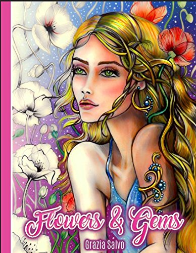 Pdf Crafts Flowers & Gems: Adult Coloring Book, spiral bound coloring book,single sided coloring book, women coloring book for adults