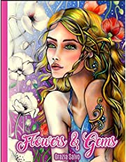 Flowers & Gems: Adult Coloring Book, spiral bound coloring book,single sided coloring book, women coloring book for adults