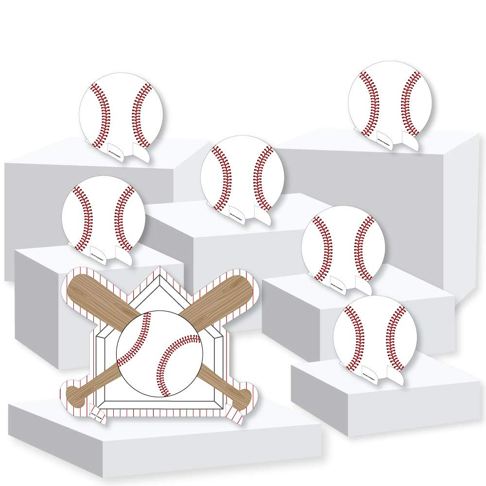 Batter Up - Baseball - Baby Shower or Birthday Party Centerpiece and Buffet Table Decor - Tabletop Standups - Set of 7