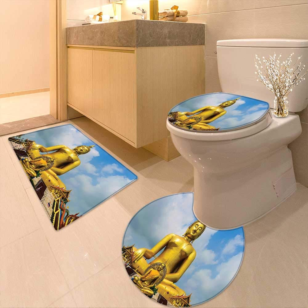 Bathroom Non-Slip Rug Set The Biggest Golden Indian Statue at The Temple in Thai Oriental Sage Asian in Bath Mat Bathroom Rugs