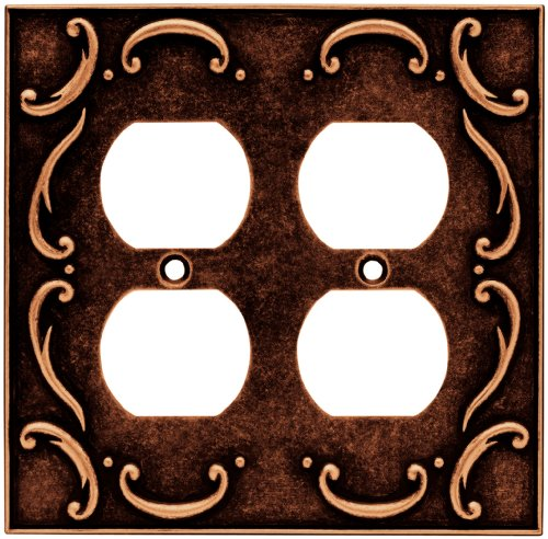 Brainerd 64258 French Lace Double Duplex Outlet Wall Plate / Switch Plate / Cover, Sponged Copper - Brainerd French Lace