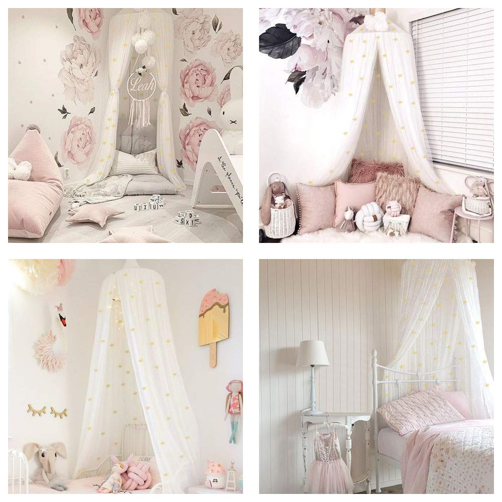 STZ Bed Canopy for Princess Girls Room Decorations with Fluorescent Stars Glow in Dark -Reading Nook for Kids-Canopy Bed Curtains-Hanging Tent-White by STZ (Image #4)