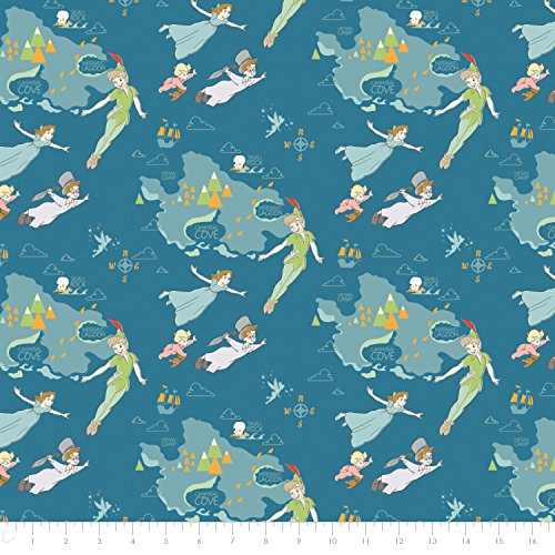 Disney Peter Pan & Neverland in Blue Premium Cotton Fabric by the (Peter Pan Fabric)