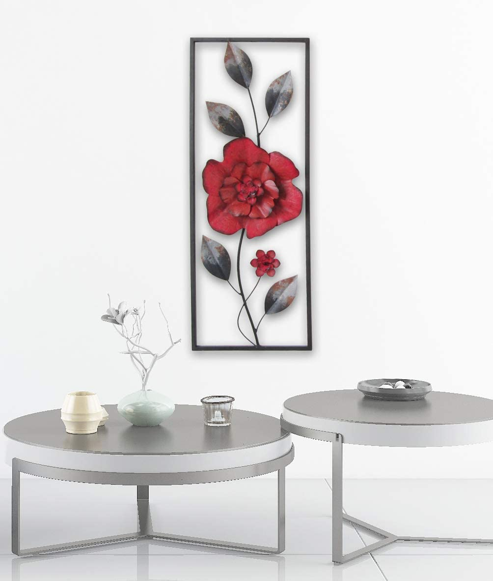 "All American Collection New Modern Chic Aluminum/Metal Wall Decor Frame 12""x30"" (Red Flower)"