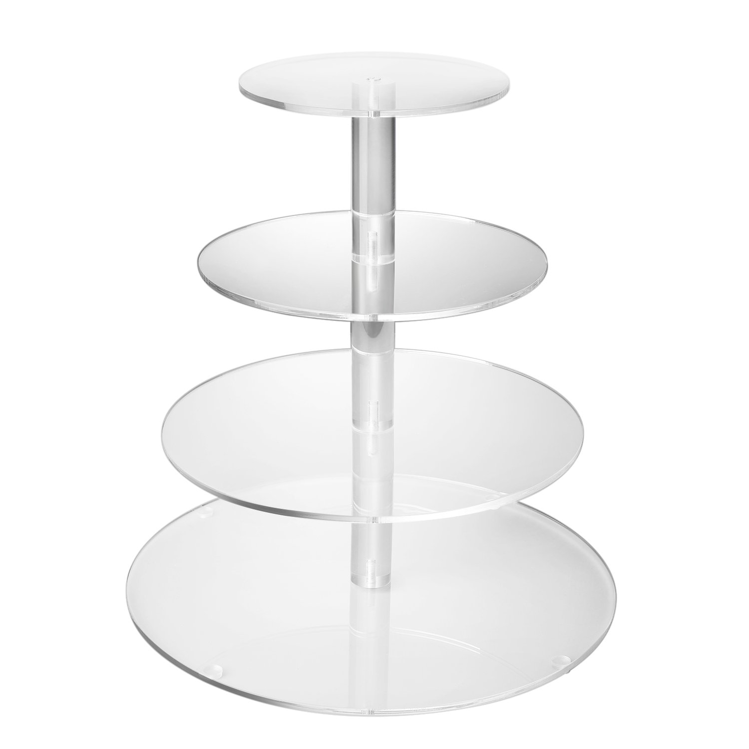 Flexzion 4 Tier Cupcake Stand Holder Tower - Wedding Birthday Party Plastic Cupcake Display Tree for Baby Family Afternoon Dessert - Tiered Acrylic Glass Cake Carrier w/Top Tier (4 Tier Clear, Round)