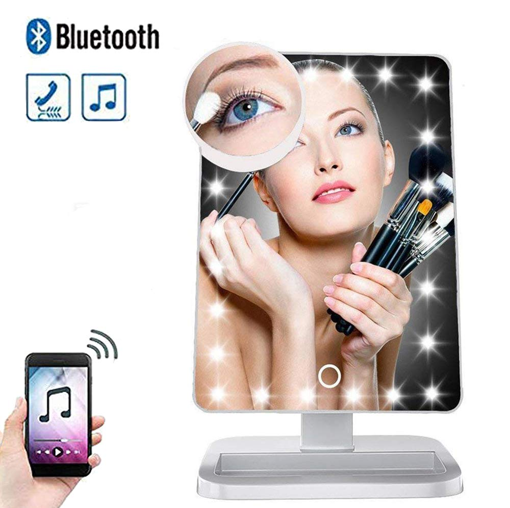 Hansong Makeup Mirror with Lights and Bluetooth- Vanity Mirror with 10X Magnifying,Cosmetic Mirror with 20 LED Lights,180° Rotation,USB Charging(White)