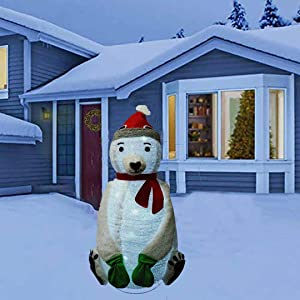 SNOWSTORM 6FT Christmas White Polar Bear 200 LED White with Twinkle Lights, Foldable/Pop Up Decorations Polar Bear for Xmas Indoor Outdoor Decor