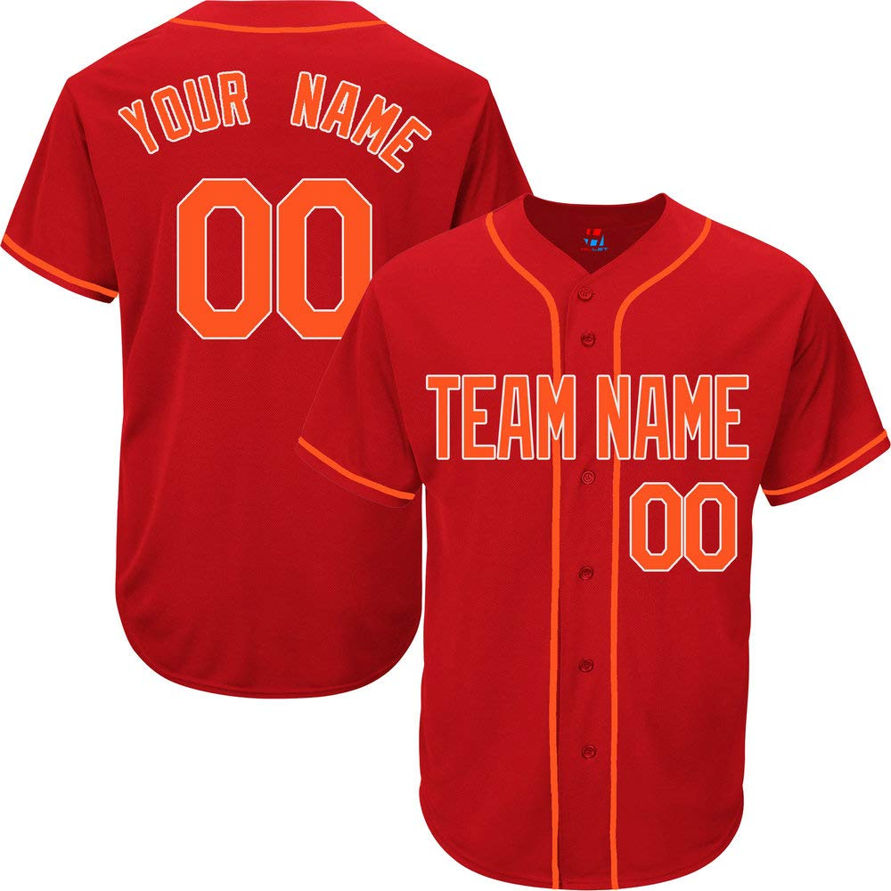 Red Custom Baseball Jersey for Women Practice Embroidery Your Name & Numbers,Orange-White Size 2XL by Pullonsy