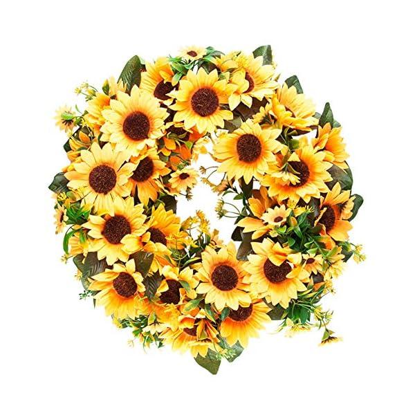 Meiliy Artificial Sunflower Fall Wreath 16 Inch Yellow Wreaths for Front Door Decor Outdoor Indoor Wall