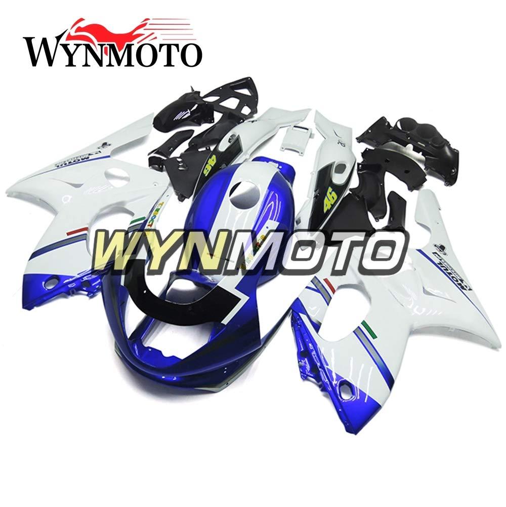 WYNMOTO ABS インジェクション完全なオートバイフェア外装パーツセット適応ヤマハ YZF600R Thundercat 97-07 マットブルーホワイトハルフェアリングキット   B075S6XVQ6