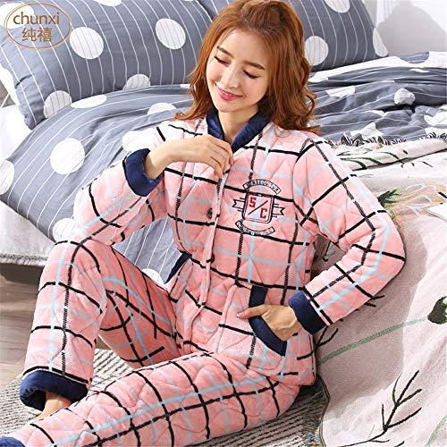 Cálido Para L A Baijuxing Servicio Domicilio M Y Suave Coral Mujer Deportivo Franela Casual Invierno Camisón Polar Pijama 1qFq8ER