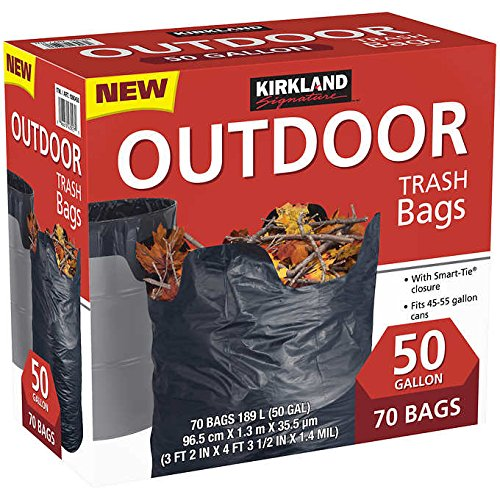 Kirkland Signature Smart Closure Outdoor Lawn 50 Gallon Trash Bags, 70 Count by Kirkland Signature
