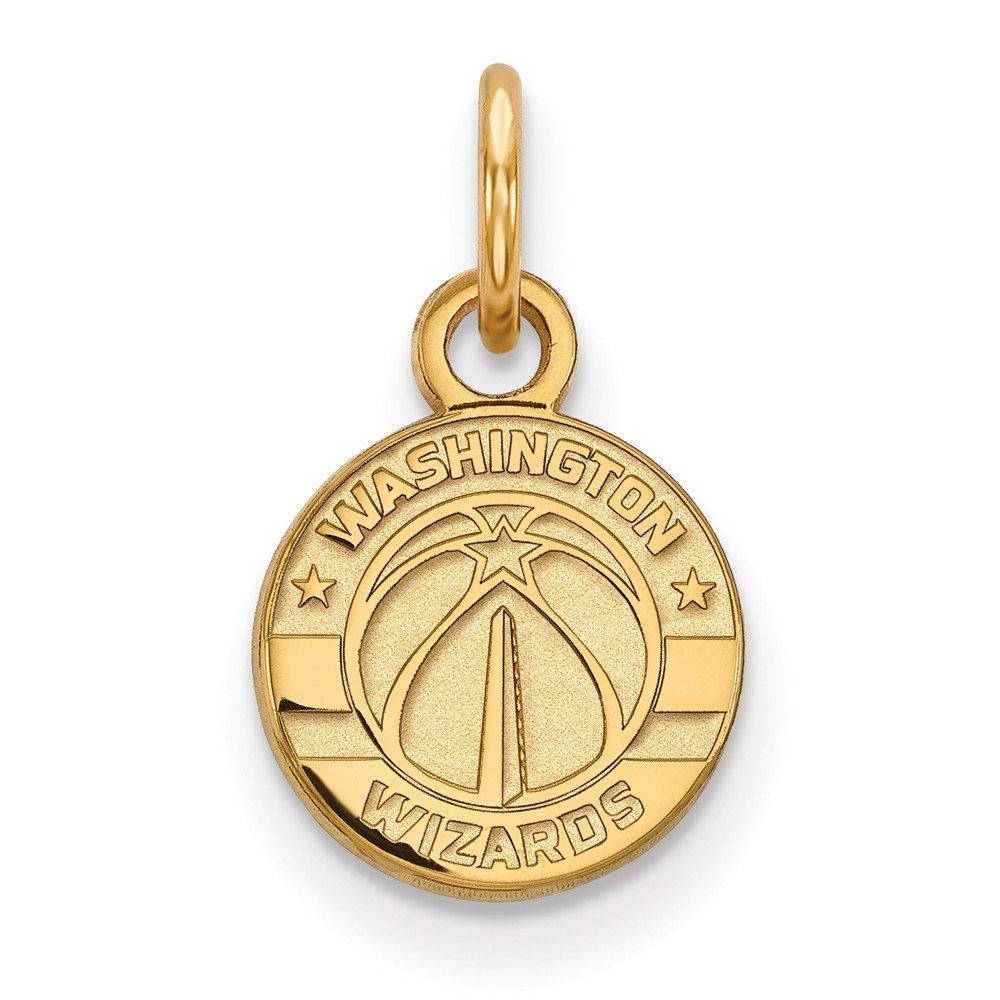 Roy Rose Jewelry 14K Yellow Gold NBA LogoArt Washington Wizards X-small Pendant / Charm