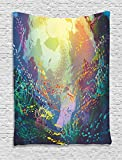 Ambesonne Sea Animals Decor Tapestry, Underwater Coral Reef Colorful Fish Aquarium Artistic Home Art, Bedroom Living Room Dorm Decor, 40 W x 60 L inches, Turquoise Yellow Pink