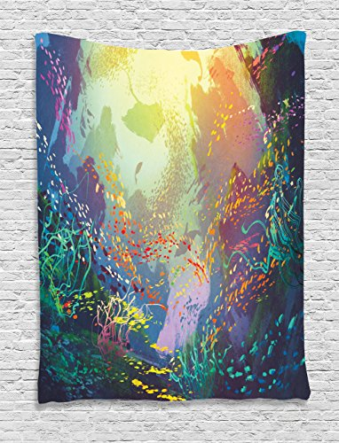 Ambesonne Sea Animals Decor Tapestry, Underwater Coral Reef Colorful Fish Aquarium Artistic Home Art, Bedroom Living Room Dorm Decor, 40 W x 60 L inches, Turquoise Yellow Pink by Ambesonne