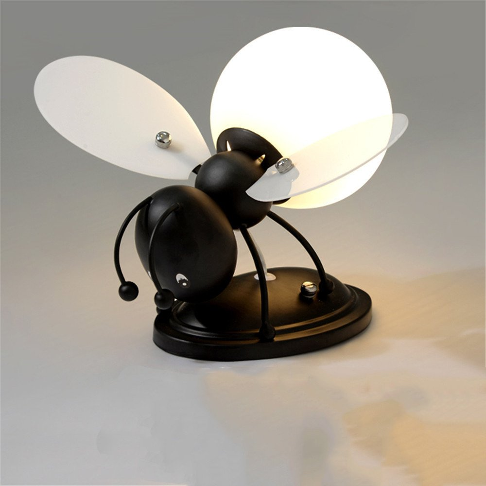Z&MDH Bee LED wall lamp, children bedroom bedroom living room decorative wall lamp, length 28cm width 28cm high 17cm, black