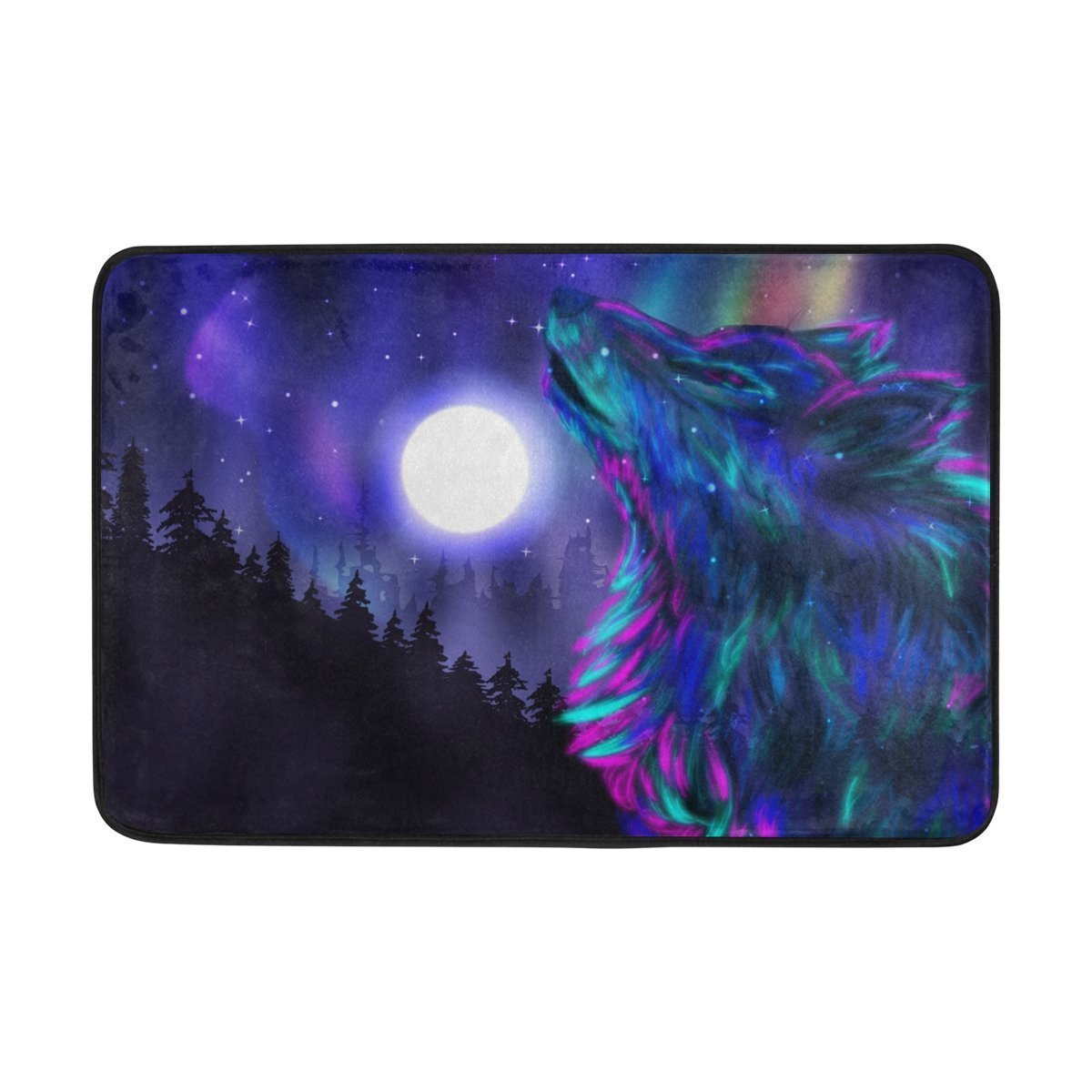 BAIHUISHOP Tree Wolf Moon Night 3-Piece Bathroom Set, Machine Washable for Everyday Use,Includes 60x72 Inch Waterproof Shower Curtain, 12 Shower Hooks and 1 Non-slip Bathroom Rug Carpet - Set of 3 by baihuishop (Image #5)