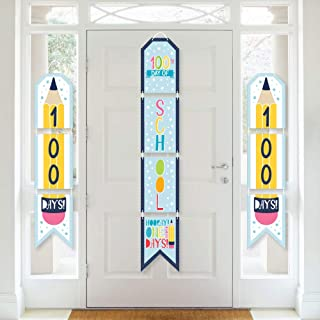 product image for Big Dot of Happiness Happy 100th Day of School - Hanging Vertical Paper Door Banners - 100 Days Party Wall Decoration Kit - Indoor Door Decor