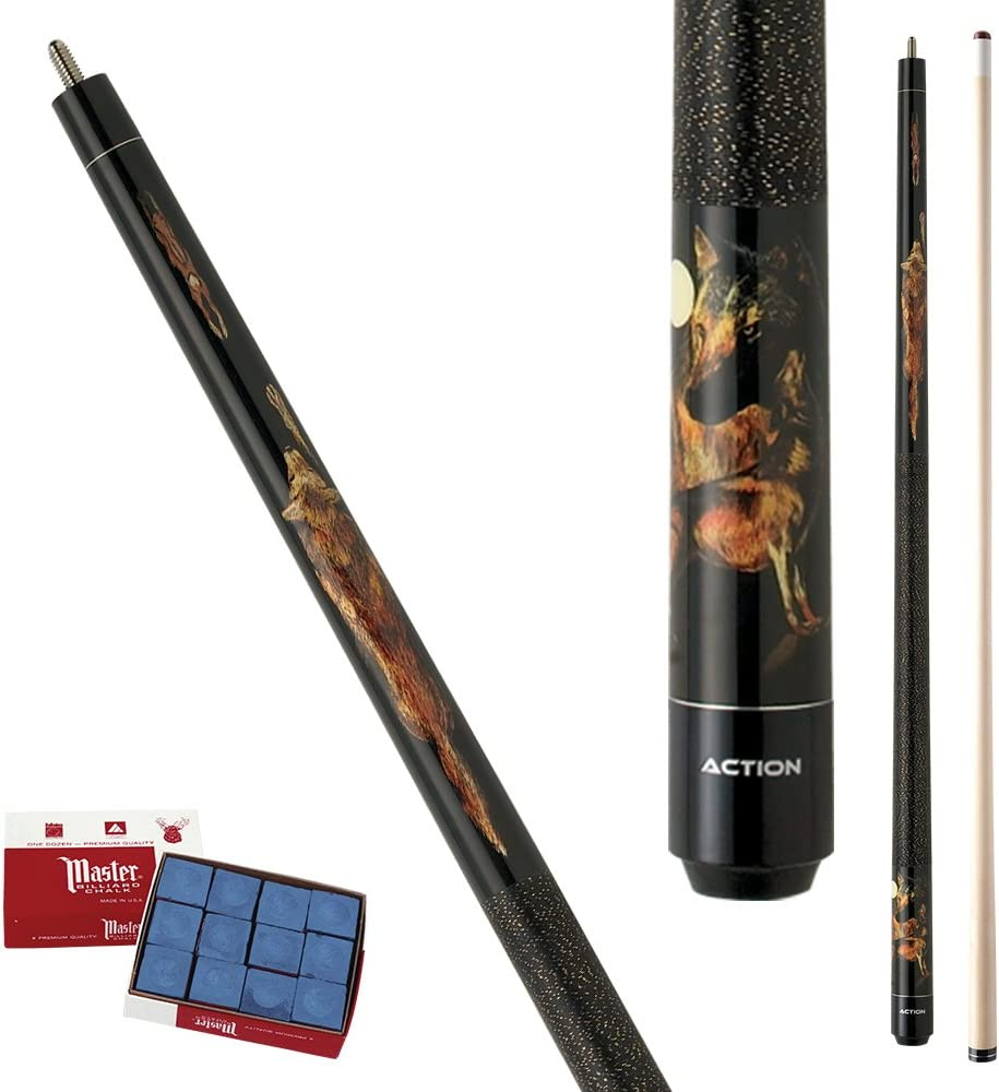 Action Adventure ADV85 Black Wolf Pool Cue Stick with 12 pieces of Master Billiard Chalk 21