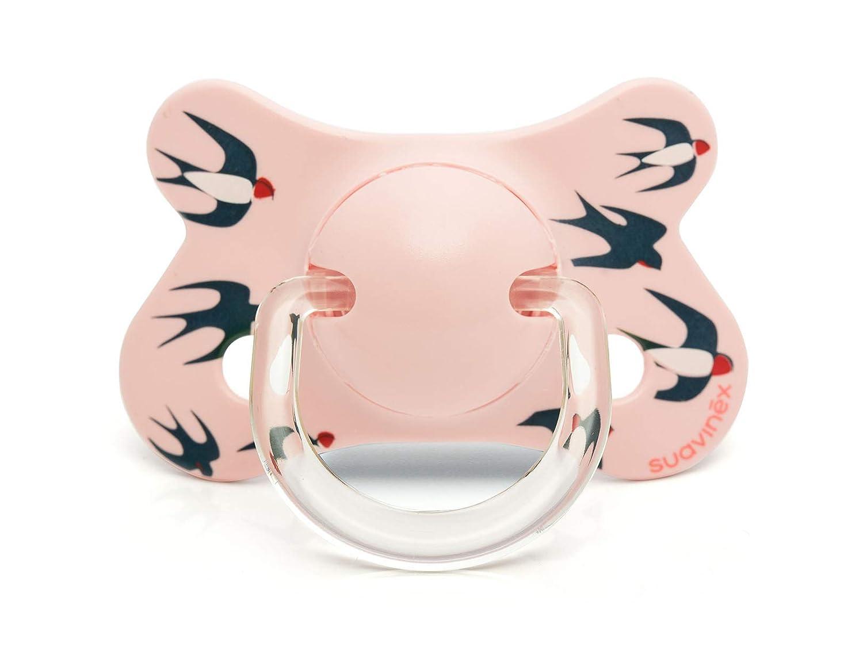 Suavinex 303152 - Chupete tetina anatómica silicona 4 - 18 meses, gaviotas, color rosa