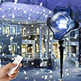 Snowfall Decorative Light, Yoyokit Led Projector Rotating Low Voltage Spotlight with Remote Control Waterproof Outdoor Indoor Landscape Snowflake Decorative lighting for Christmas Halloween Birthday Party Weedding Garden