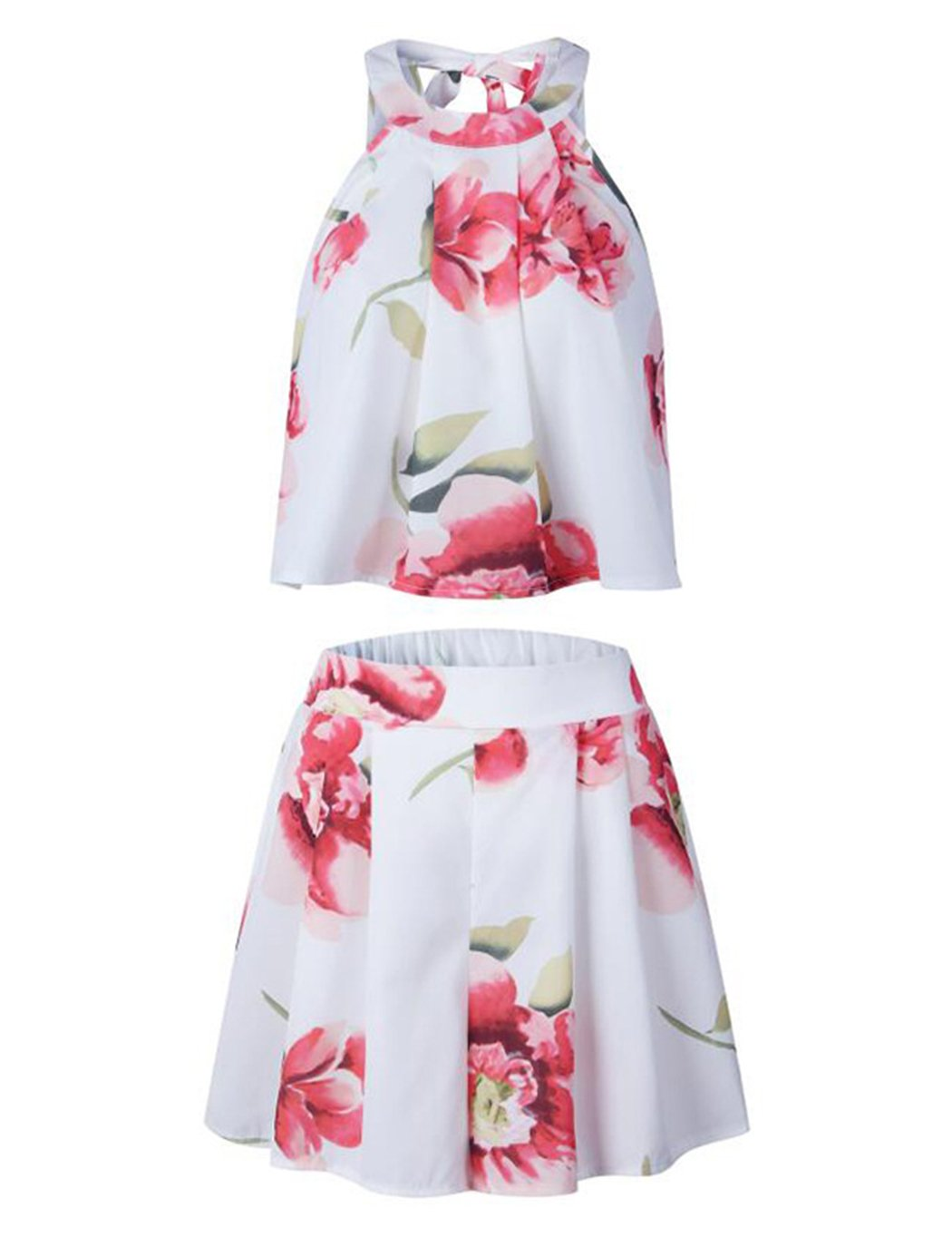 Women\'s Floral Printed Summer Dress Romper Boho Playsuit Jumpsuits Beach 2 Piece Outfits Top with Shorts White