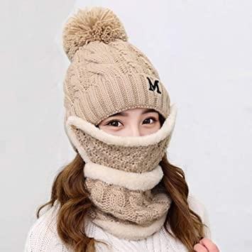 a4174cc61e2 Women Girls Warm Knitted Beanie Hat Scarf Mask Set Ladies Winter Neck Warmer  Scarves Knit Crochet Hat Headwear