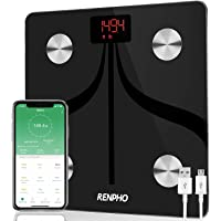 RENPHO Bluetooth Body Fat Scale Weight Bathroom Smart Digital Scale USB Rechargeable with Smartphone App, Body Composition Monitor for Body Fat, BMI, Bone Mass, Weight, 396 lbs Black