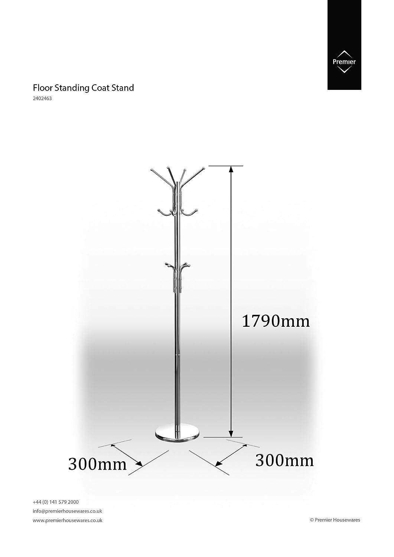 Premier Housewares - Perchero de pie (178 cm, Cromo)