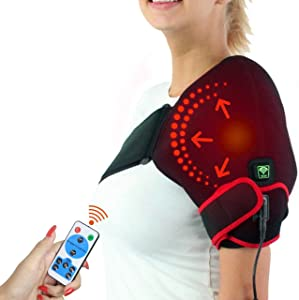 sticro Moist Heat Infrared Shoulder Heating Pad for Pain Relief, 6 Heat Settings Heated Wrap Braces for Left Right Frozen Shoulder, Rotator Cuff Injury, Arthritis Men Woman - S/M/L