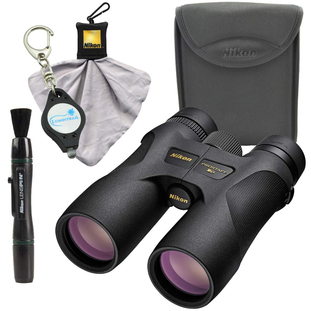 Nikon 16003 10x42 ProStaff 7S Binocular All-Terrain Waterproof and Fogproof (Black) Bundle with Nikon Cleaning Cloth, Lens Pen and Lumintrail Keychain Light by Nikon (Image #1)