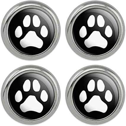 Paw Print Dog Cat White on Black Metal Craft Sewing Novelty Buttons Set of 4